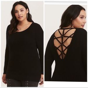 BLACK KNIT GROMMET CAGE BACK SWEATER